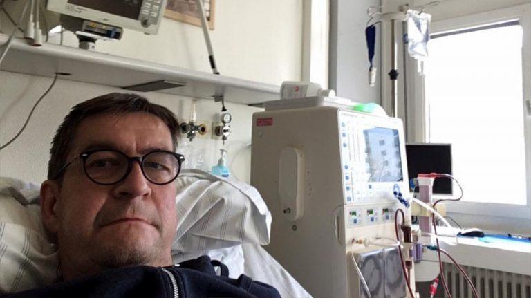 Letzte Dialyse in HD, 27.2.2017; in der chirurgischen Uniklinik wurde ich nach 8 Monaten Dialyse zum letzten Mal an die Dialysemaschine angeschlossen.